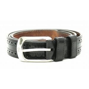 LOUIS VUITTON Louis Vuitton Saint-Tour Force Belt #95 38 Leather Black Brown Silver Hardware