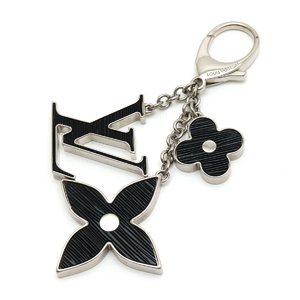 LOUIS VUITTON Louis Vuitton Bijouxac Fleur De Epi Key Chain Charm Bag Silver Black M65084