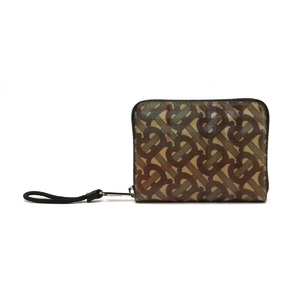 BURBERRY Burberry Hologram Round Zip Bi-fold Wallet Plaid 3D Print Polyurethane Leather Beige Multi Color 8021188