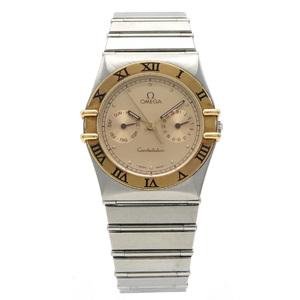 OMEGA Omega Constellation Day Date Champagne Dial SS GP Combi Men's QZ Quartz Wrist Watch