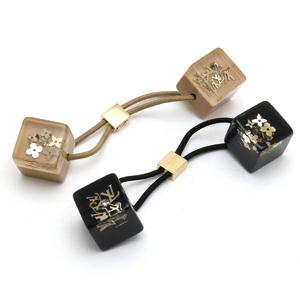 LOUIS VUITTON Louis Vuitton Hair Cube Unclusion Elastic Set of 2 Beige Clear Black Gold Hardware