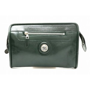 BALENCIAGA clutch bag travel case leather dark green silver hardware 182376
