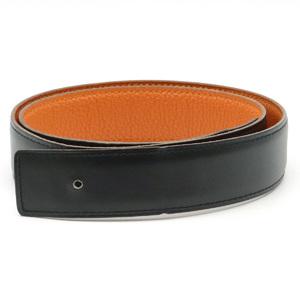 HERMES Constance H Belt Reversible Calf Taurillon Clemence Black Orange #80 □J Engraved Buckle Missing