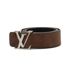 LOUIS VUITTON Louis Vuitton Suntur LV Initial Reversible Belt Mens Brown Black Silver Hardware #85 M6876V