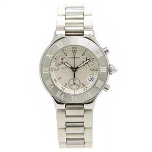 Cartier Mast 21 Chronoscaph Rubber Belt Mens Quartz Wrist Watch W10184U2