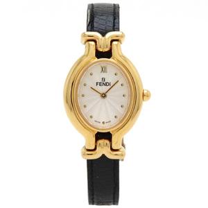 FENDI Fendi Change Belt GP Leather Silver Dial Ladies Quartz Wrist Watch 640L