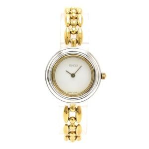 GUCCI Gucci Change Bezel White Dial GP Gold Plated Ladies QZ Quartz Wrist Watch 11 12.2