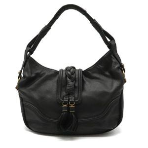 BURBERRY blue label tassel one shoulder bag leather black