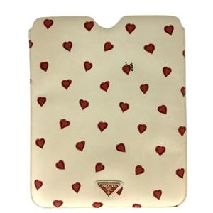 PRADA Prada ipad case Eye pat Heart white Beige leather