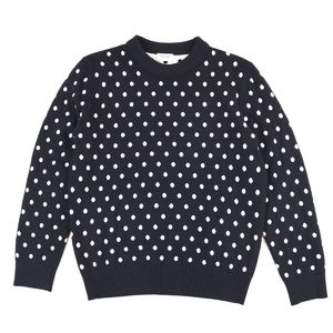 Celine 2019SS Dot Pattern Crew Neck Wool Knit Sweater Long Sleeve Ladies S Black White C2-9793