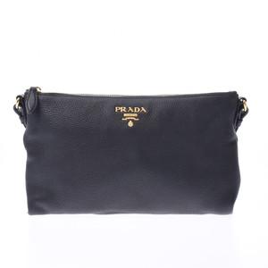 プラダ(Prada) PRADA プラダ スリムタイプ 黒 ゴールド金具 レディース カーフ ショルダーバッグ