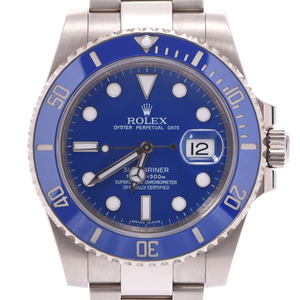 ROLEX Submariner Date 116619LB Mens 18K White Gold Watch Automatic