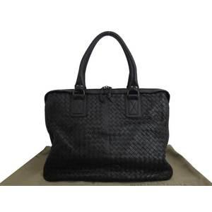 BOTTEGA VENETA Bag Intrecciato Black Leather Handbag Business Ladies Men