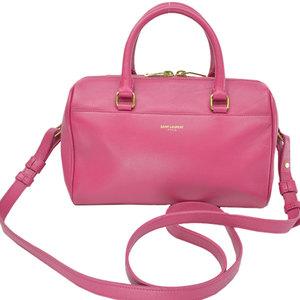 SAINT LAURENT bag purple pink gold leather handbag shoulder ladies