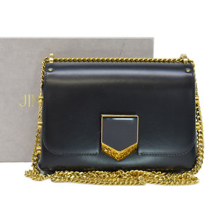 JIMMY CHOO bag black gold leather shoulder chain ladies