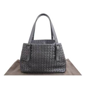 BOTTEGA VENETA Bag Intrecciato Metallic Gray Leather Tote Shoulder Ladies