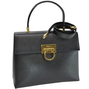 Salvatore Ferragamo Bag Gantini Black Gold Leather Handbag Shoulder Ladies