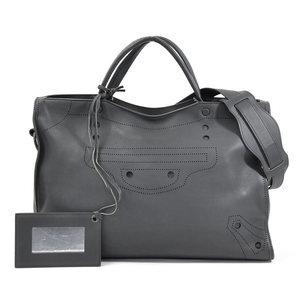BALENCIAGA Handbag Shoulder Bag 2Way Blackout City Dark Gray Leather Ladies d96766