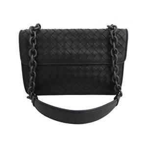 BOTTEGA VENETA Bag Intrecciato Double Face Black Leather Shoulder Chain Ladies