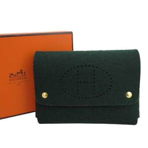 HERMES playing card case H logo dark green gold metal fittings felt multi accessory ladies' men