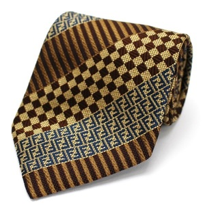 Fendi Silk Tie Brown Zucca Pattern FENDI Men's Stripe