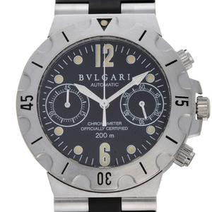 BVLGARI Diagono Scuba Chronograph Mens Watch SC38S Stainless Steel Black Arabian Dial
