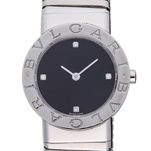 BVLGARI Tubogas 4P Diamond Ladies Watch BB26 2TS Stainless Steel Black Dial