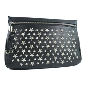 JIMMY CHOO Jimmy Choo Pouch Studs Calf Black Unisex Clutch Bag