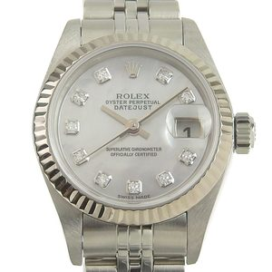 ROLEX Datejust Ladies Automatic Watch White Shell Dial 79174NG K Serial