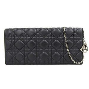 Christian Dior Canage Chain Shoulder Clutch 2-Way Bag Black