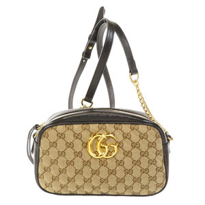 Gucci 447632 GG Marmont Small Shoulder Bag Canvas Leather Women's GUCCI