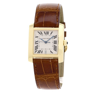 Cartier W5000156 Tank Francaise LM Watch K18 Yellow Gold Leather Men CARTIER