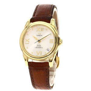 Omega 4681.31.35 Devil Co-Axial Back Skeleton Watch K18 Yellow Gold Leather Ladies OMEGA
