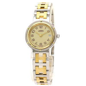HERMES Clipper Old Watch Gold Plated Steel Ladies