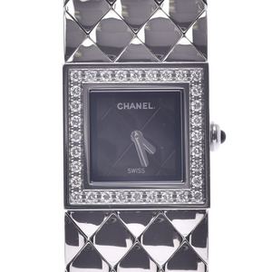 CHANEL Matelasse Diamond Stainless Steel Quartz Ladies Watch H0489