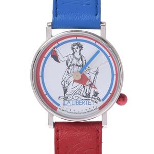 Alain Silberstein Alan Tricolor Statue of Liberty Ladies SS Leather Wrist Watch Quartz White Dial