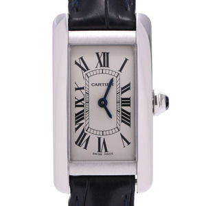 CARTIER Tank American WSTA0016 Ladies SS Leather Watch Quartz Silver Dial