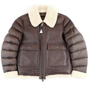 Moncler MONCLER TEMPLON 2015-16AW Mouton Leather Switch Nylon Down Jacket Double Zip Men's 2 Brown G2-9826