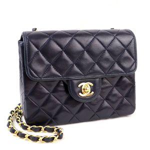 Chanel CHANEL Miniaturasse chain shoulder bag leather VINTAGE Vintage 1st series Coco mark navy × gold metal fittings K2-9892