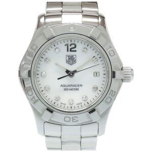TAG HEUER Aqua Racer 10P Diamond WAF1415 Quartz Watch SS White Shell Dial Ladies