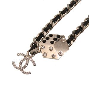 Chanel Dice Stone Silver Chain Belt Black Cocomark Accessory CHANEL