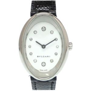 BVLGARI Oval 12P Diamond K18WG OVW32G Quartz Watch 750 Solid Ladies