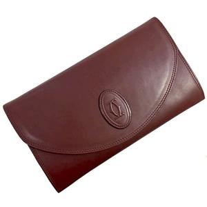 Cartier Clutch Bag Mast Wine Red Gold Hardware Leather Ladies Men Bordeaux Second Calf Handbag