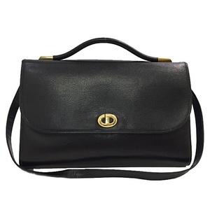 Christian Dior 2way Bag Black Gold Hardware Leather Ladies Shoulder Vintage
