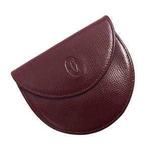 Cartier Coin Case Mastline Bordeaux Leather Ladies Men Unisex Wallet