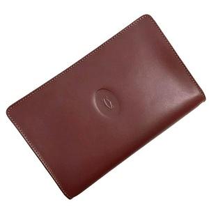 Cartier Pouch Mast Bordeaux Gold Hardware Leather Ladies Mens Clutch