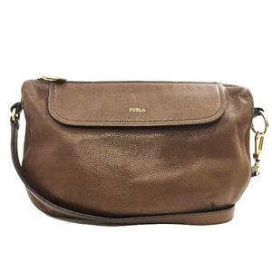 Furla Shoulder Bag Brown Gold Hardware Leather FURLA Ladies