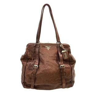 Prada Tote Bag BR3913 Brown Silver Hardware Leather PRADA Ladies Men's
