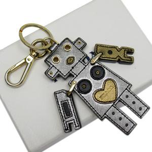 Prada PRADA Key Ring Keychain Charm Robot Silver Gold Saffiano Leather Ladies