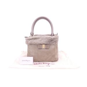 Salvatore Ferragamo Handbag Vala Ribbon Greige Gray Mouton Fur Leather Bag Women's